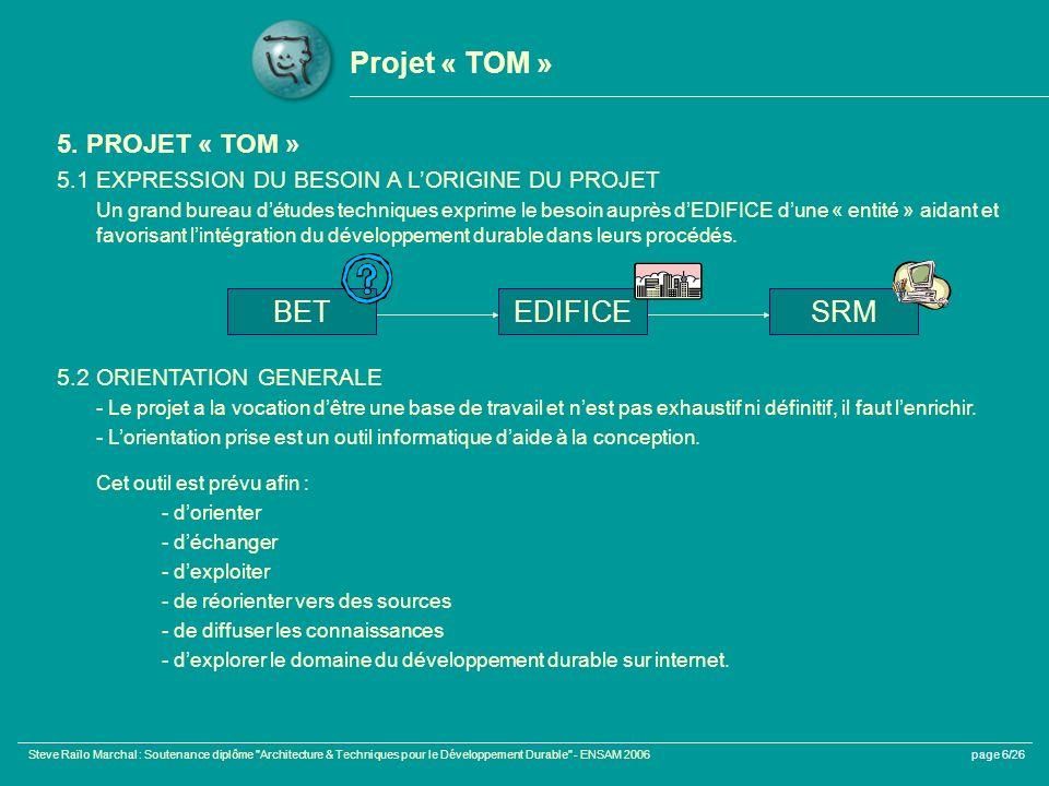 Steve Raïlo Marchal : Soutenance diplôme Architecture & Techniques pour le Développement Durable - ENSAM 2006page 6/26 Projet « TOM » 5.