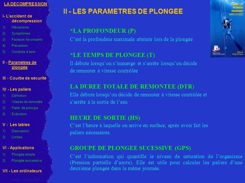 II - LES PARAMETRES DE PLONGEE *LA PROFONDEUR (P) Cest la profondeur maximale atteinte lors de la plongée *LE TEMPS DE PLONGEE (T) Il débute lorsquon