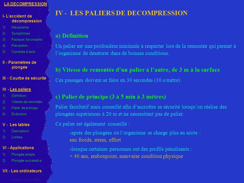 IV - LES PALIERS DE DECOMPRESSION a) Définition Un palier est une profondeur minimale à respecter lors de la remontée qui permet à lorganisme de desat