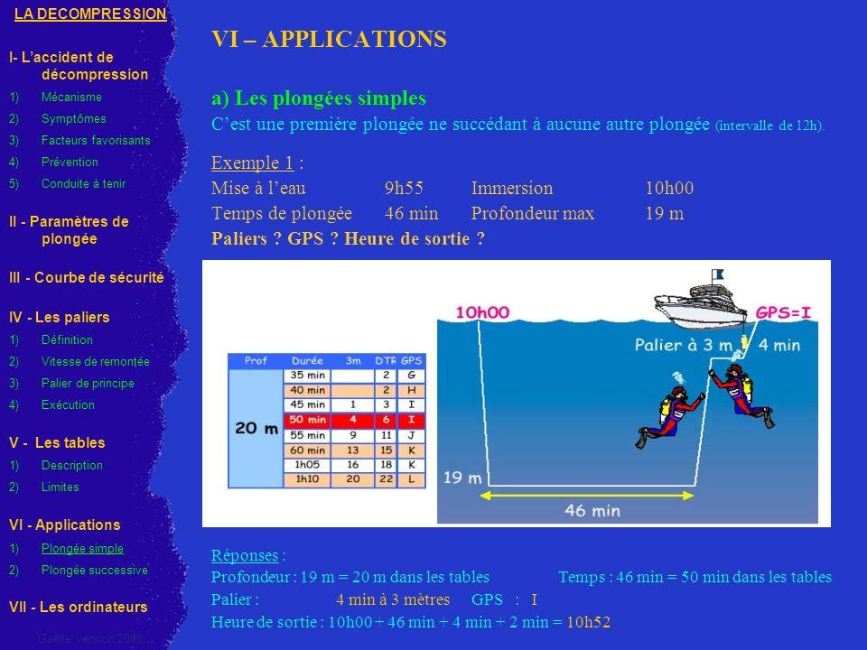 VI – APPLICATIONS a) Les plongées simples Cest une première plongée ne succédant à aucune autre plongée (intervalle de 12h). Exemple 1 : Mise à leau 9