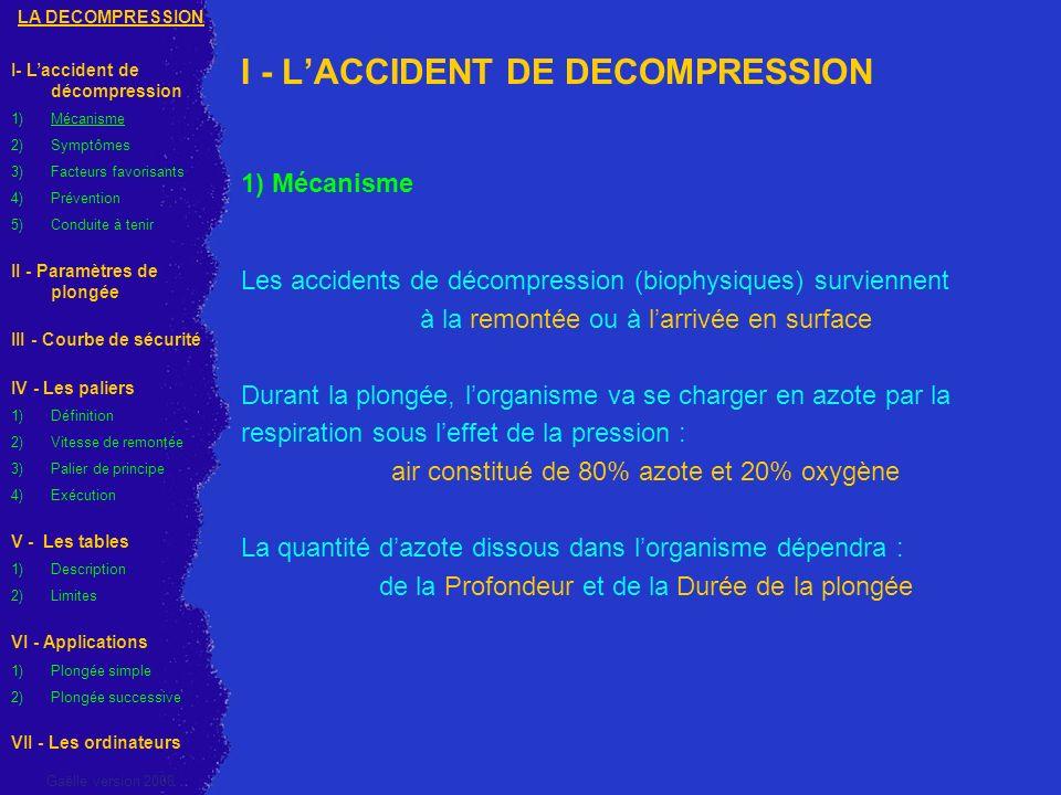 I - LACCIDENT DE DECOMPRESSION 1) Mécanisme Les accidents de décompression (biophysiques) surviennent à la remontée ou à larrivée en surface Durant la