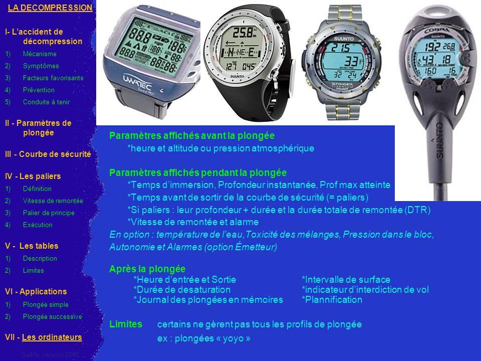 Paramètres affichés avant la plongée *heure et altitude ou pression atmosphérique Paramètres affichés pendant la plongée *Temps dimmersion, Profondeur