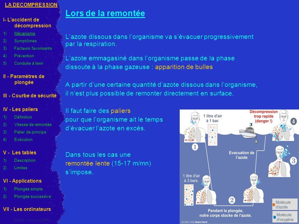 d) Exécution du palier Lors de lexécution de palier les plongeurs doivent : - être bien stabilisé - avoir une ventilation correcte en insistant sur lexpiration - ne pas faire dapnée pour économiser de lair Ne pas prolonger les paliers (en dehors du palier de 3 m) car certains tissus continuent de saturer LA DECOMPRESSION I- Laccident de décompression 1)Mécanisme 2)Symptômes 3)Facteurs favorisants 4)Prévention 5) Conduite à tenir II - Paramètres de plongée III - Courbe de sécurité IV - Les paliers 1)Définition 2)Vitesse de remontée 3)Palier de principe 4)Exécution V - Les tables 1)Description 2)Limites VI - Applications 1) Plongée simple 2) Plongée successive VII - Les ordinateurs Gaëlle version 2008