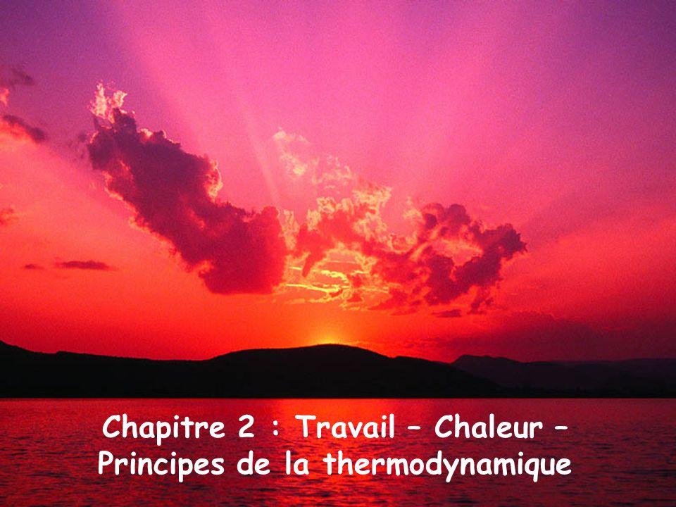 Chapitre 2 : Travail – Chaleur – Principes de la thermodynamique