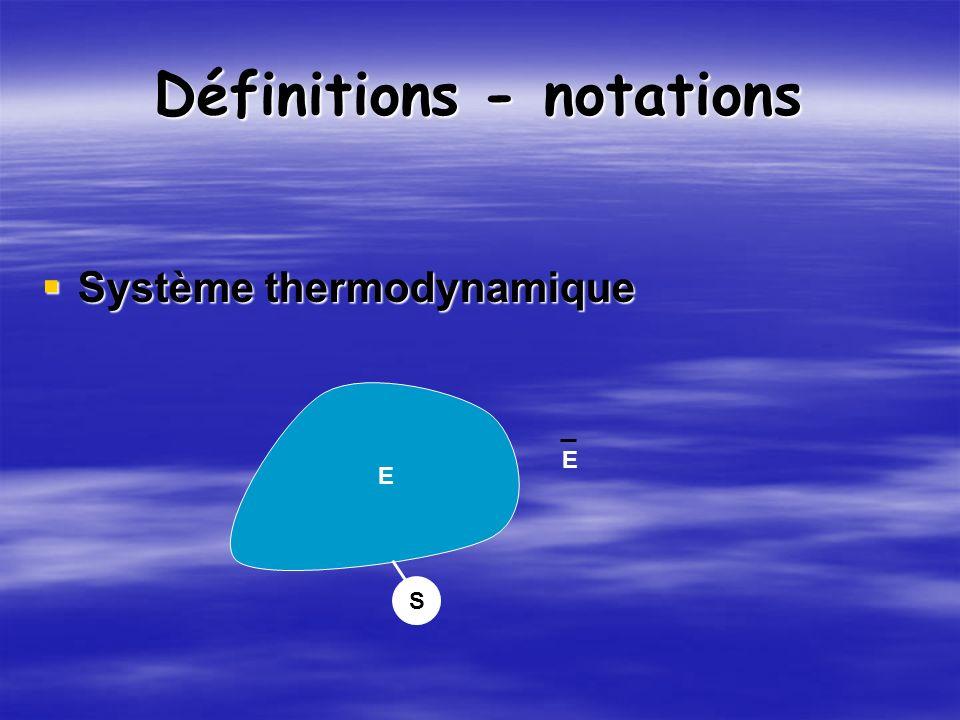 Définitions - notations Système thermodynamique Système thermodynamique S E E