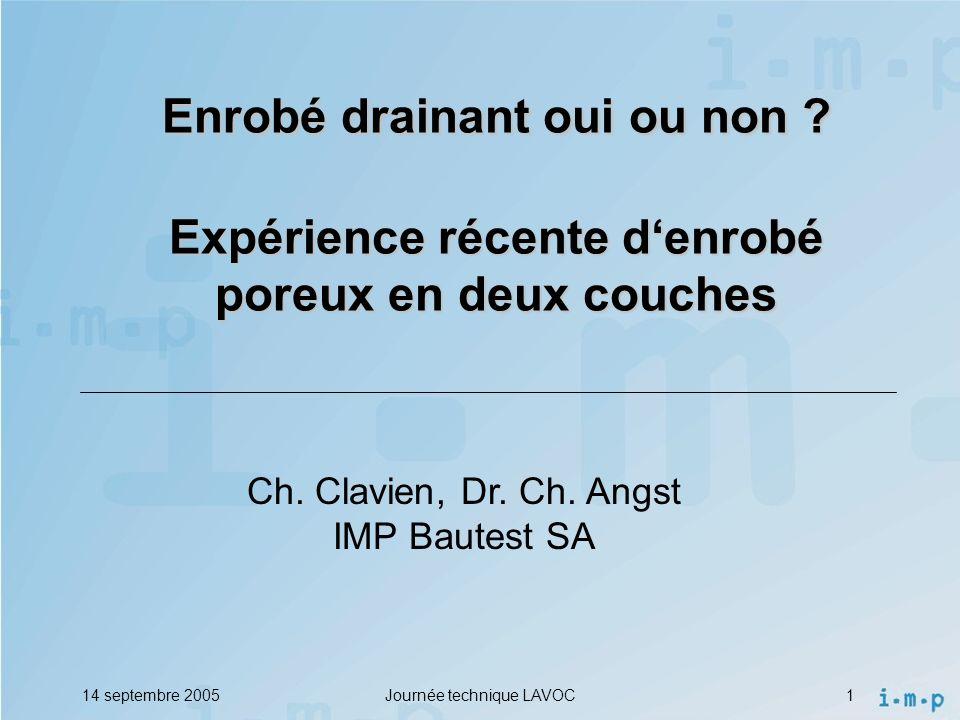 14 septembre 2005Journée technique LAVOC1 Ch.Clavien, Dr.
