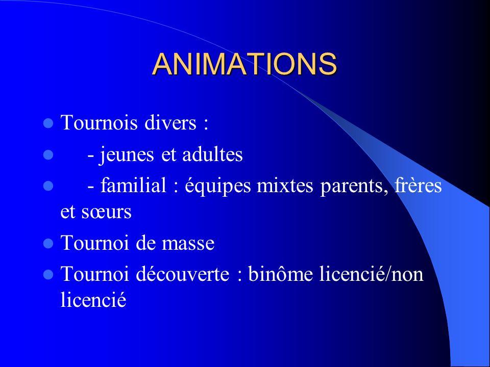 ANIMATIONS Tournois divers : - jeunes et adultes - familial : équipes mixtes parents, frères et sœurs Tournoi de masse Tournoi découverte : binôme licencié/non licencié