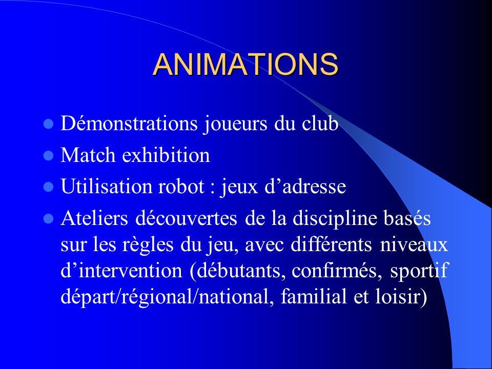 ANIMATIONS Démonstrations joueurs du club Match exhibition Utilisation robot : jeux dadresse Ateliers découvertes de la discipline basés sur les règle