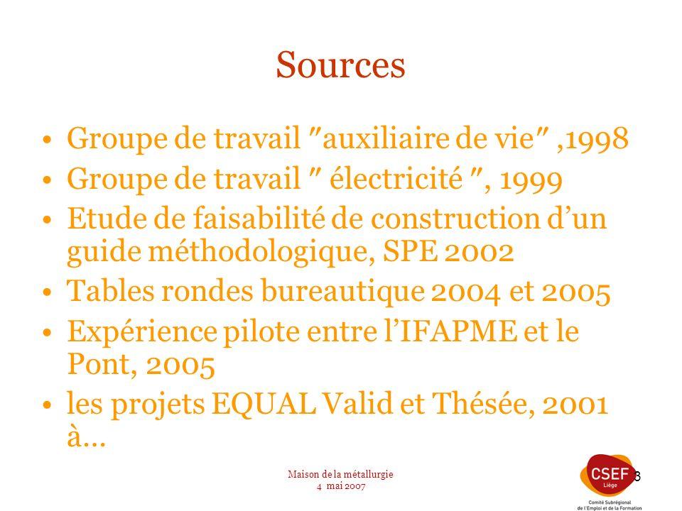 Maison de la métallurgie 4 mai 2007 3 Sources Groupe de travail auxiliaire de vie,1998 Groupe de travail électricité, 1999 Etude de faisabilité de con