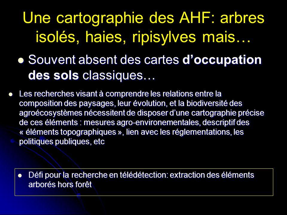 Une cartographie des AHF: arbres isolés, haies, ripisylves mais… Souvent absent des cartes doccupation des sols classiques… Souvent absent des cartes