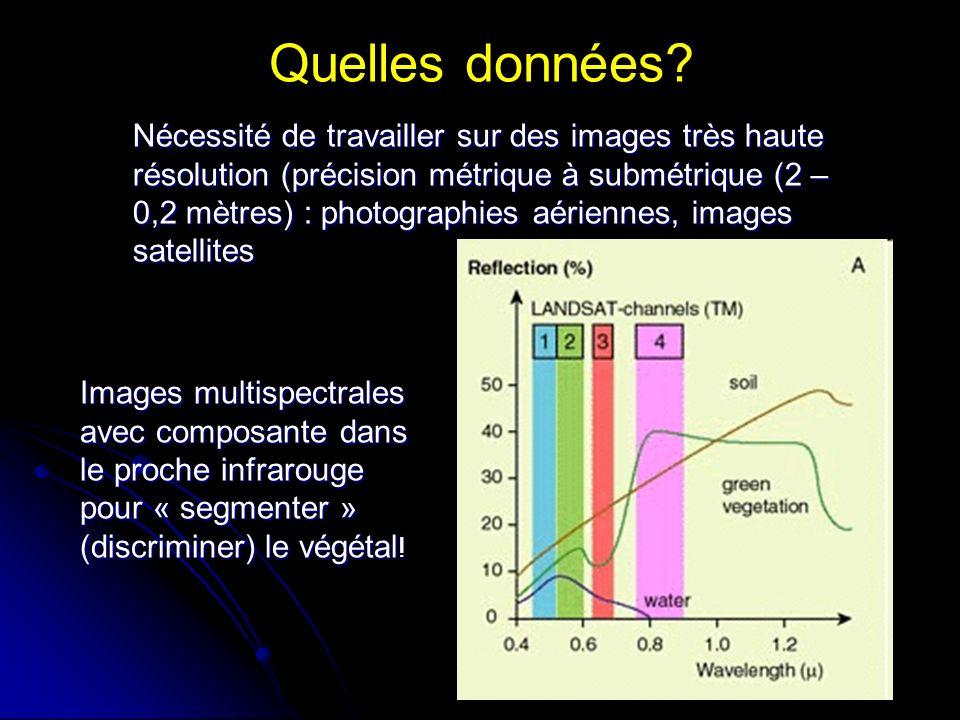 Quelles données? Nécessité de travailler sur des images très haute résolution (précision métrique à submétrique (2 – 0,2 mètres) : photographies aérie