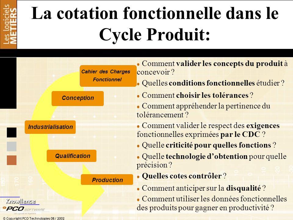 © Copyright PCO Technologies 08 / 2002 La cotation fonctionnelle dans le Cycle Produit: Cahier des Charges Fonctionnel Conception Qualification Indust