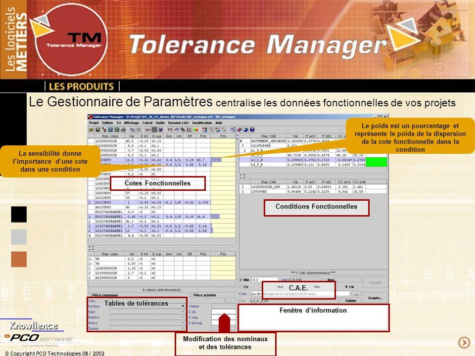 © Copyright PCO Technologies 08 / 2002 Le Gestionnaire de Paramètres centralise les données fonctionnelles de vos projets Cotes Fonctionnelles Conditi