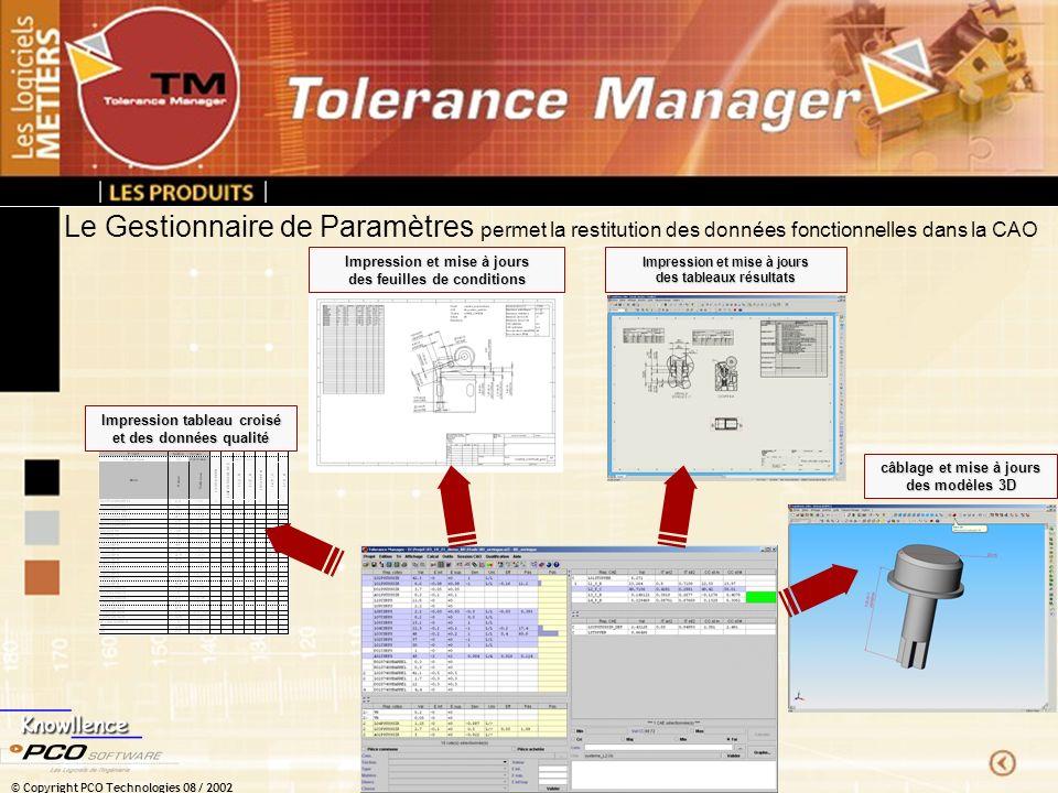 © Copyright PCO Technologies 08 / 2002 Le Gestionnaire de Paramètres permet la restitution des données fonctionnelles dans la CAO Impression et mise à