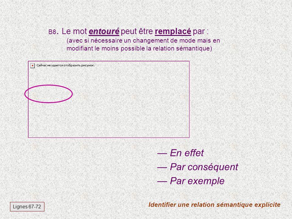 B7. Le récit de vie est une discipline de développement personnel marginale. L information suivante figure-t-elle dans le texte ? Lignes C 1 - 4 Vrai