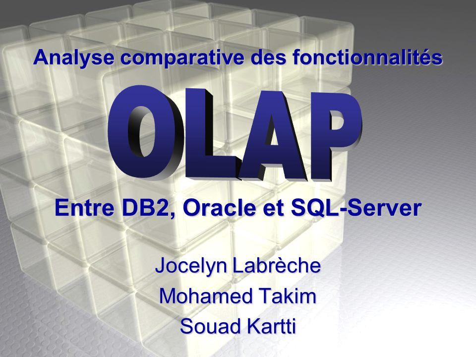 Analyse comparative des fonctionnalités Jocelyn Labrèche Mohamed Takim Souad Kartti Entre DB2, Oracle et SQL-Server