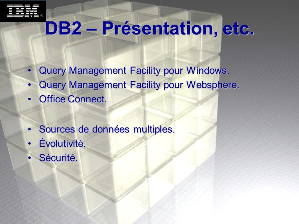 DB2 – Présentation, etc. Query Management Facility pour Windows.Query Management Facility pour Windows. Query Management Facility pour Websphere.Query