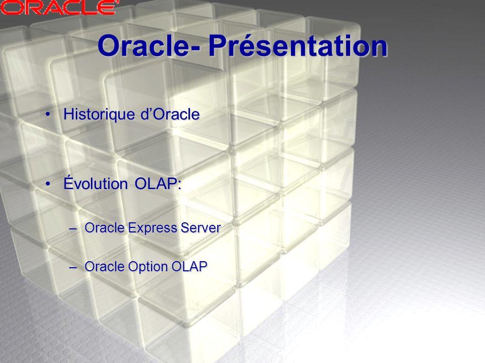 Oracle- Présentation Historique dOracleHistorique dOracle Évolution OLAP:Évolution OLAP: –Oracle Express Server –Oracle Option OLAP