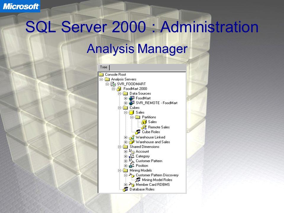 SQL Server 2000 : Administration Analysis Manager