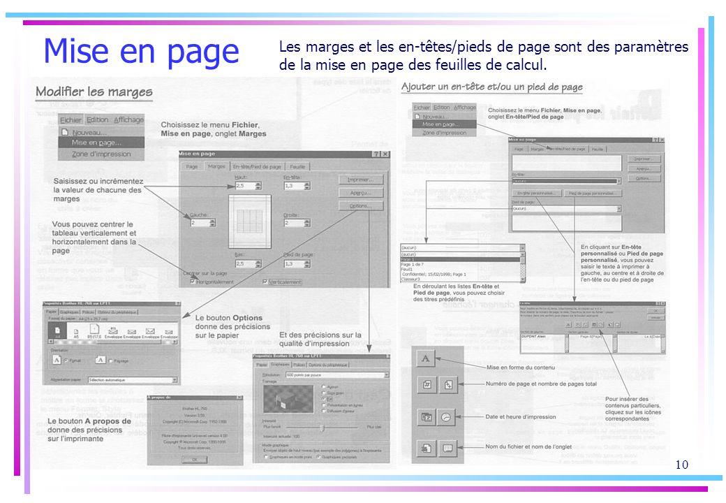 9 Mise en forme des caractères La mise en forme des valeurs permet daméliorer la présentation des tableaux Excel En cliquant sur longlet Bordure, des