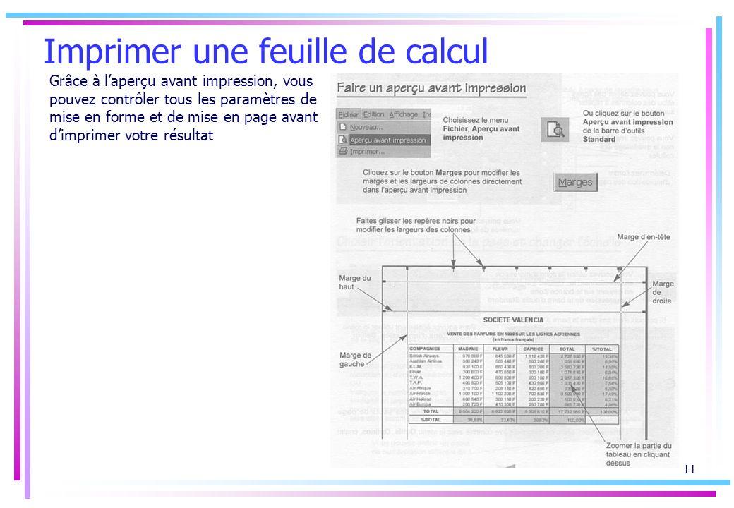 10 Mise en page Les marges et les en-têtes/pieds de page sont des paramètres de la mise en page des feuilles de calcul.
