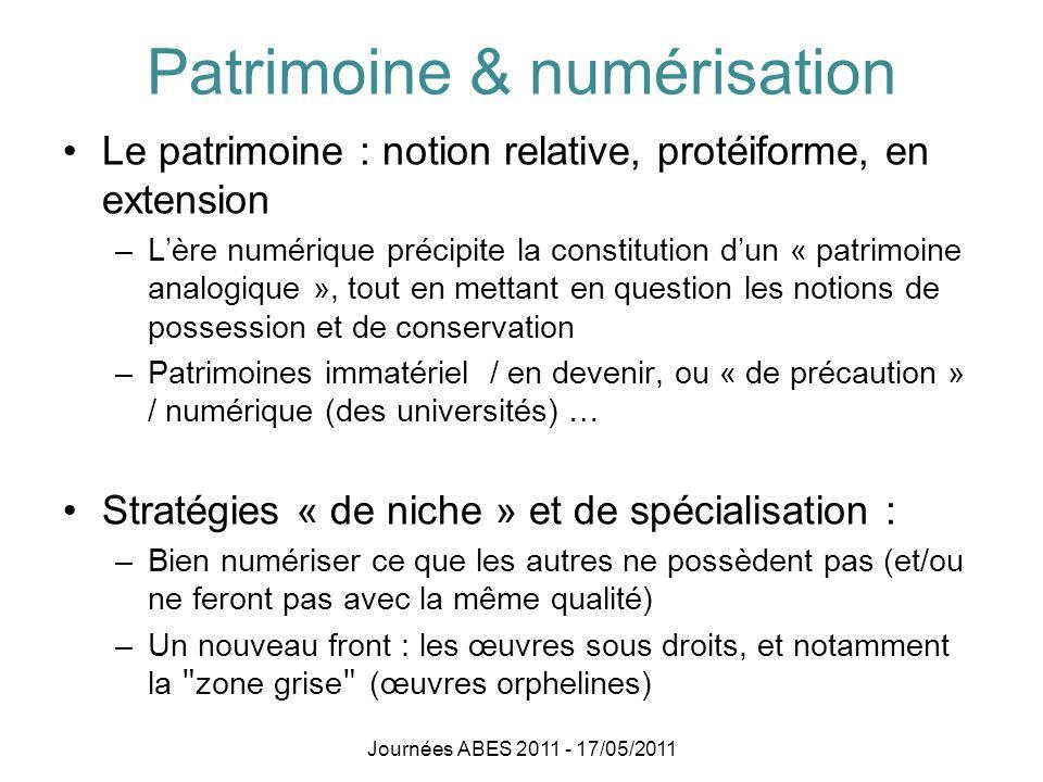 Patrimoine & numérisation (2) Qualité contre quantité .