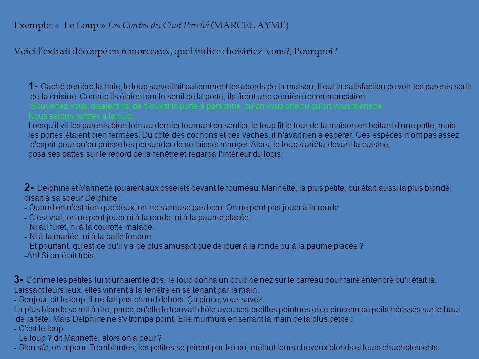 Exemple: « Le Loup » Les Contes du Chat Perché (MARCEL AYME) Voici lextrait découpé en 6 morceaux, quel indice choisiriez-vous?, Pourquoi? 1- Caché de