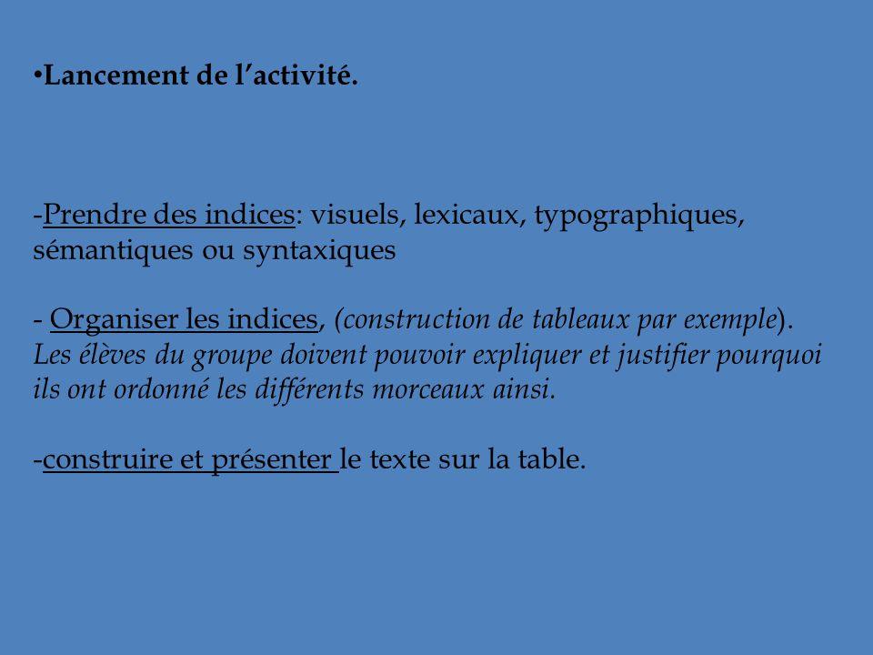 Lancement de lactivité. -Prendre des indices: visuels, lexicaux, typographiques, sémantiques ou syntaxiques - Organiser les indices, (construction de
