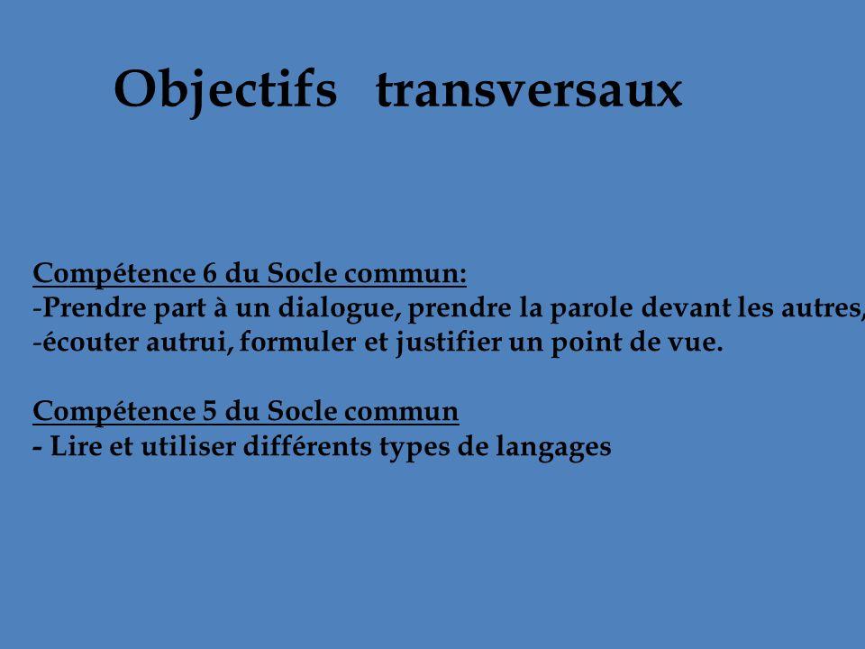 Objectifs transversaux Compétence 6 du Socle commun: - Prendre part à un dialogue, prendre la parole devant les autres, - écouter autrui, formuler et
