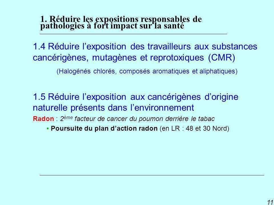 PNSE 2 11 1.4 Réduire lexposition des travailleurs aux substances cancérigènes, mutagènes et reprotoxiques (CMR) (Halogénés chlorés, composés aromatiques et aliphatiques) 1.5 Réduire lexposition aux cancérigènes dorigine naturelle présents dans lenvironnement Radon : 2 ème facteur de cancer du poumon derrière le tabac Poursuite du plan daction radon (en LR : 48 et 30 Nord) 1.