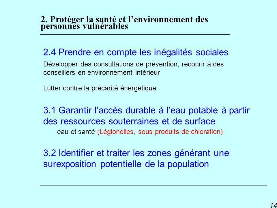 PNSE 2 14 2.4 Prendre en compte les inégalités sociales Développer des consultations de prévention, recourir à des conseillers en environnement intéri