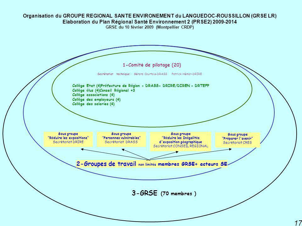 PNSE 2 17 3-GRSE (70 membres ) 2-Groupes de travail non limit é s membres GRSE+ acteurs SE Coll è ge Etat (4)Pr é fecture de R é gion - DRASS- DRIRE/DIREN - DRTEFP Coll è ge é lus (4)Conseil R é gional +3 Coll è ge associations (4) Coll è ge des employeurs (4) Coll è ge des salaries (4) 1-Comit é de pilotage (20) Secr é tariat technique : G é rard Courtois-DRASS Patrick H é mar-DRIRE Sous groupe Pr é parer l avenir Secr é tariat CRES Sous groupe R é duire les In é galit é s d exposition g é ographique Secr é tariat CONSEIL REGIONAL Sous groupe Personnes vuln é rables Secr é tariat DRASS Sous groupe R é duire les expositions Secr é tariat DRIRE Organisation du GROUPE REGIONAL SANTE ENVIRONEMENT du LANGUEDOC-ROUSSILLON (GRSE LR) Elaboration du Plan Régional Santé Environnement 2 (PRSE2) 2009-2014 GRSE du 10 février 2009 (Montpellier CRDP)