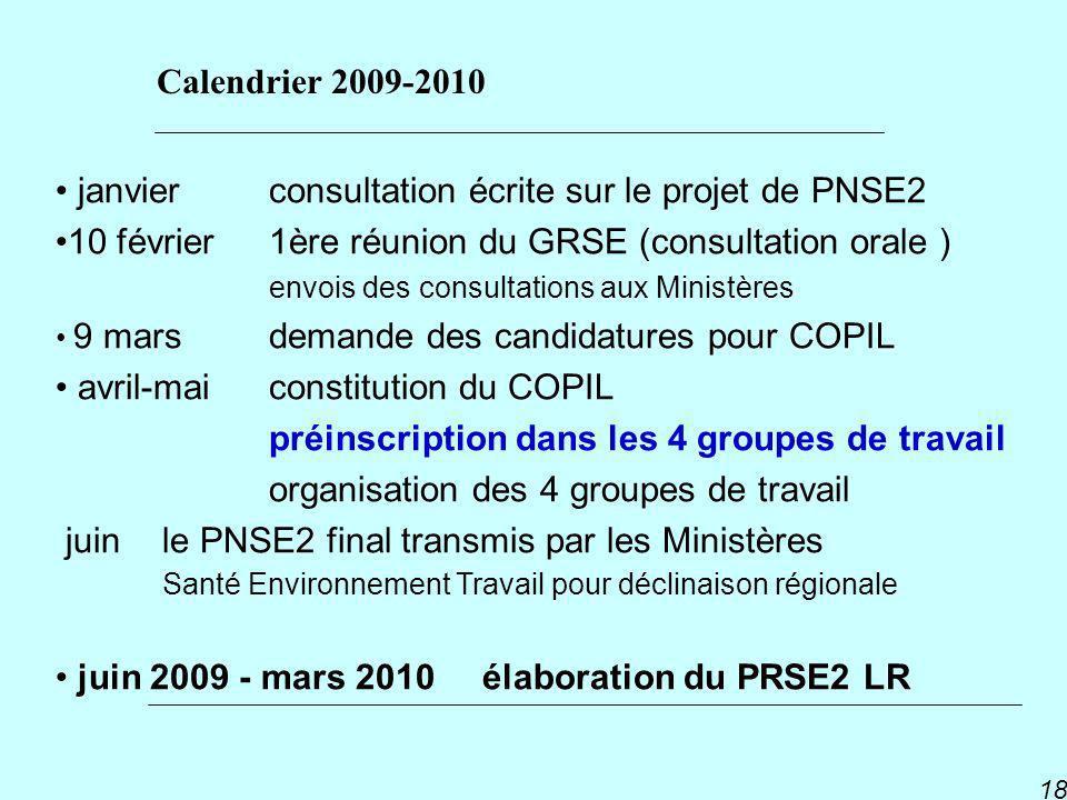 PNSE 2 18 janvier consultation écrite sur le projet de PNSE2 10 février 1ère réunion du GRSE (consultation orale ) envois des consultations aux Minist