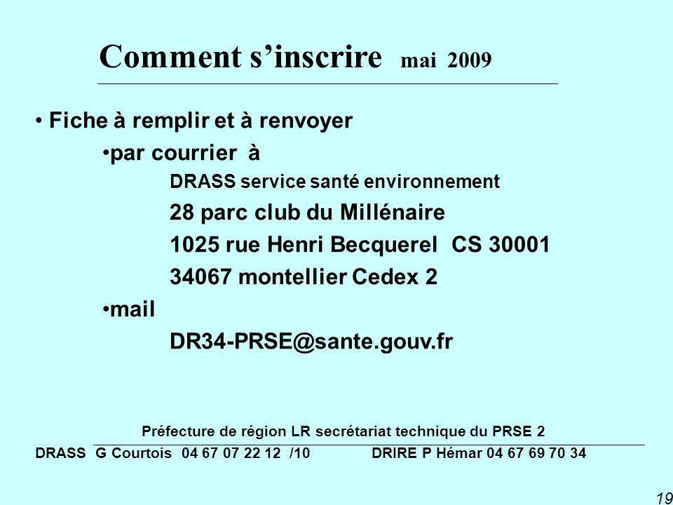 PNSE 2 19 Fiche à remplir et à renvoyer par courrier à DRASS service santé environnement 28 parc club du Millénaire 1025 rue Henri Becquerel CS 30001