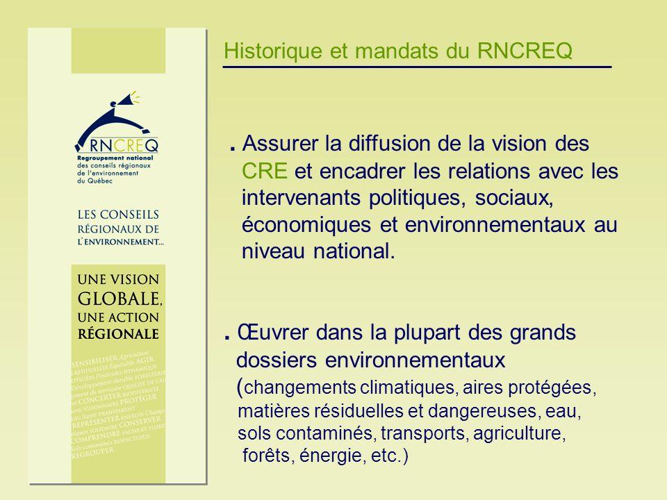 Historique et mandats du RNCREQ. Assurer la diffusion de la vision des CRE et encadrer les relations avec les intervenants politiques, sociaux, économ