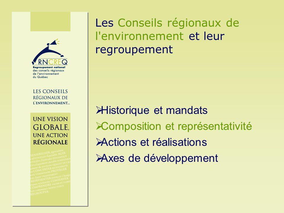 Historique et mandats Composition et représentativité Actions et réalisations Axes de développement Les Conseils régionaux de l'environnement et leur