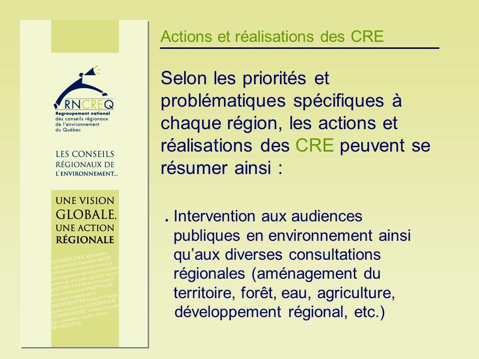 Actions et réalisations des CRE Selon les priorités et problématiques spécifiques à chaque région, les actions et réalisations des CRE peuvent se résu