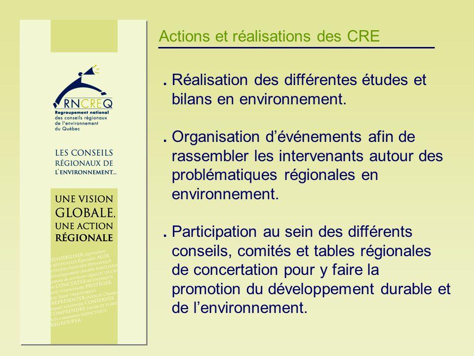 Actions et réalisations des CRE. Réalisation des différentes études et bilans en environnement.. Organisation dévénements afin de rassembler les inter