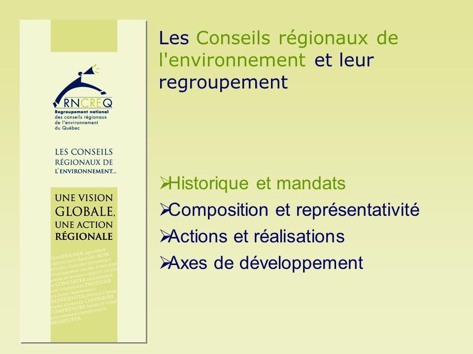 Historique et mandats des CRE Les Conseils régionaux de l environnement (CRE) existent au Québec depuis plus de 30 ans.