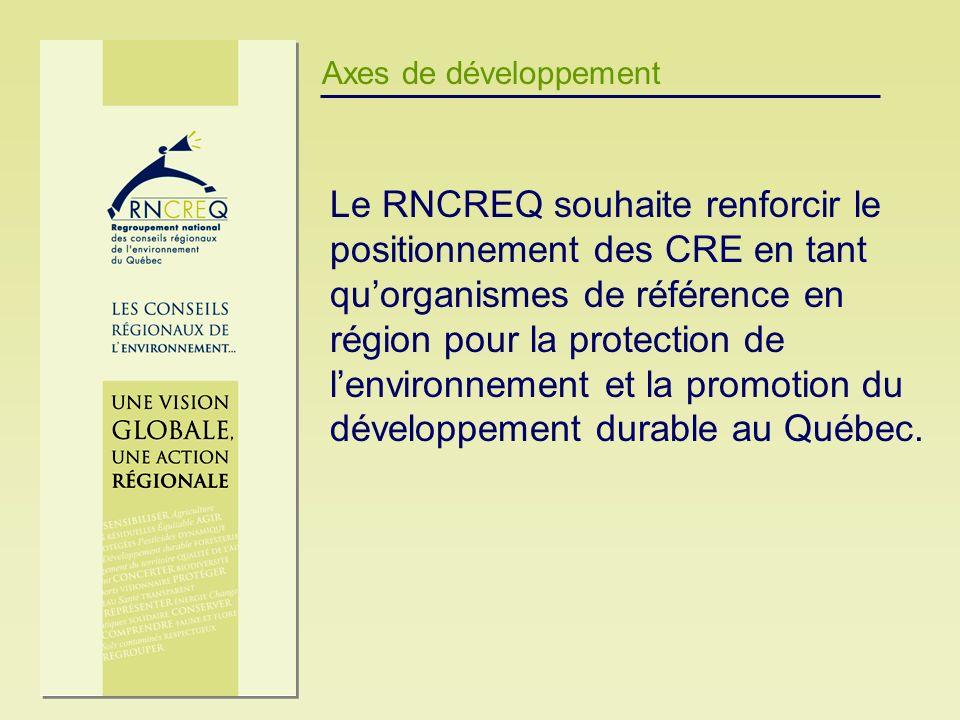 Axes de développement Le RNCREQ souhaite renforcir le positionnement des CRE en tant quorganismes de référence en région pour la protection de lenviro