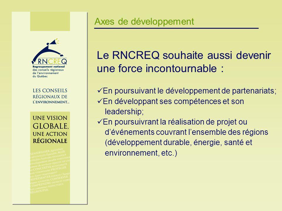 Axes de développement Le RNCREQ souhaite aussi devenir une force incontournable : En poursuivant le développement de partenariats; En développant ses