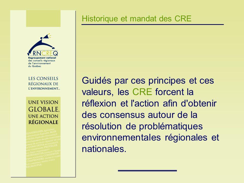 Historique et mandat des CRE Guidés par ces principes et ces valeurs, les CRE forcent la réflexion et l'action afin d'obtenir des consensus autour de