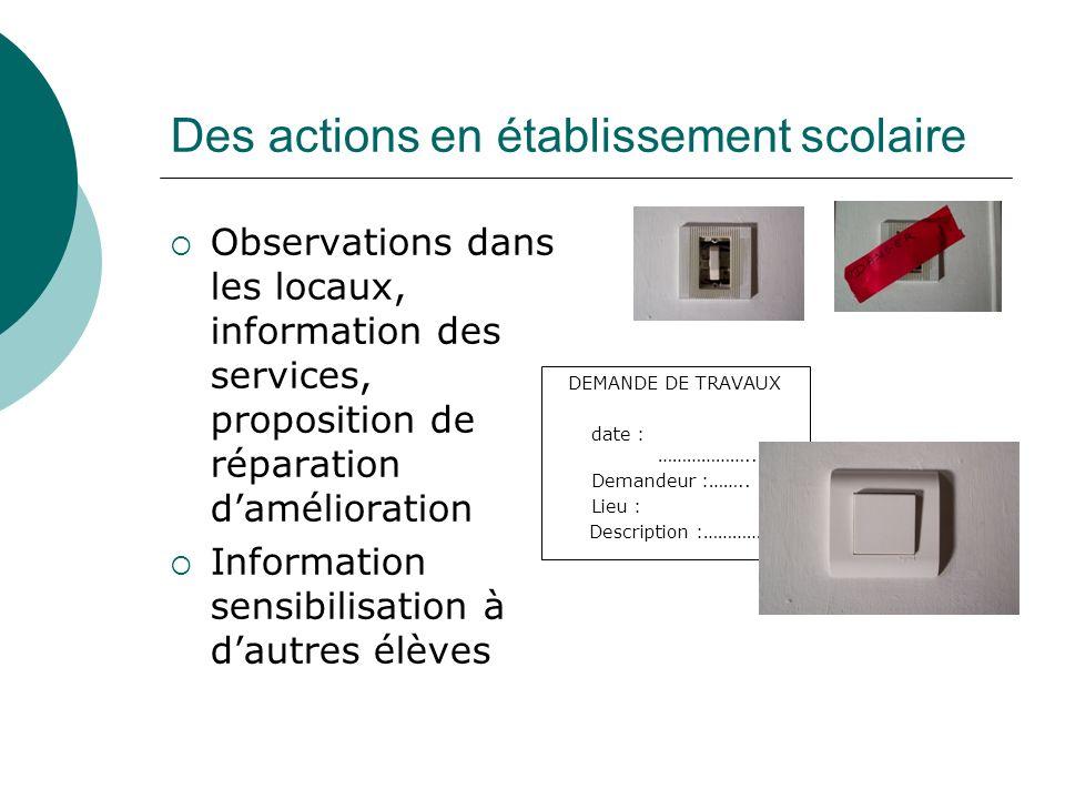 Des actions en établissement scolaire Observations dans les locaux, information des services, proposition de réparation damélioration Information sens