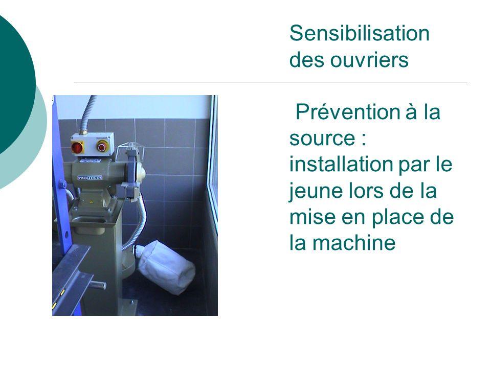 Sensibilisation des ouvriers Prévention à la source : installation par le jeune lors de la mise en place de la machine