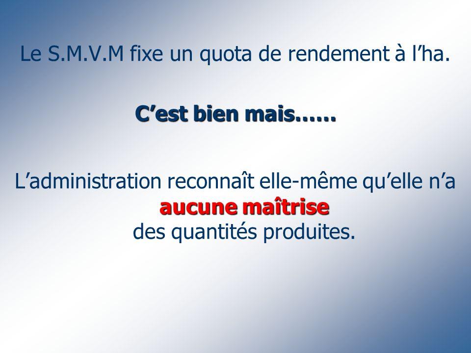 Cest bien mais…… Le S.M.V.M fixe un quota de rendement à lha.