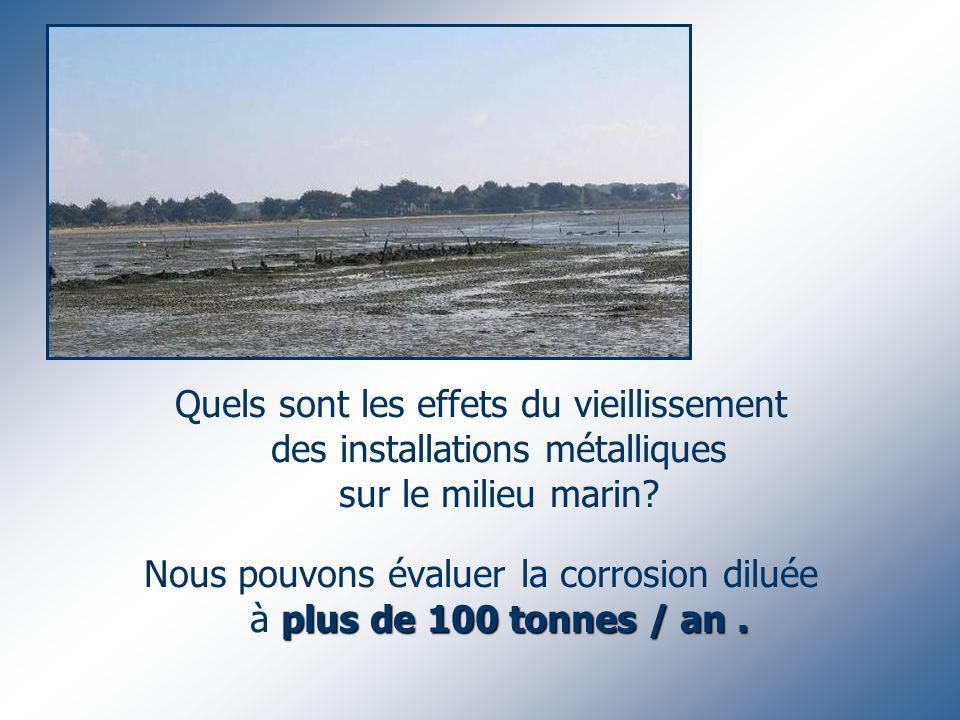 Quels sont les effets du vieillissement des installations métalliques sur le milieu marin? plus de 100 tonnes / an. Nous pouvons évaluer la corrosion