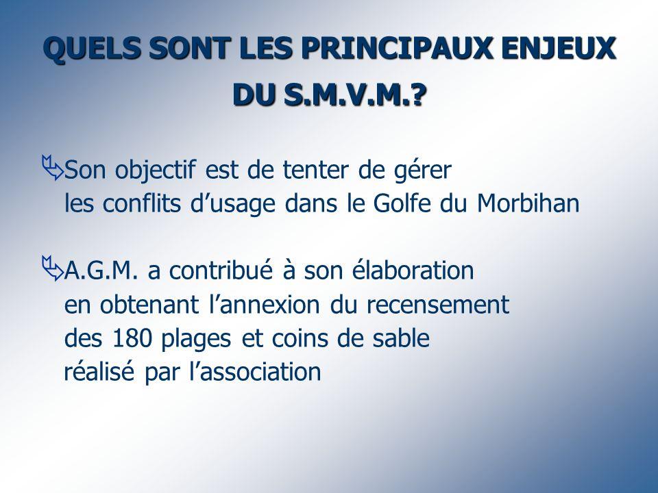 QUELS SONT LES PRINCIPAUX ENJEUX DU S.M.V.M.? Son objectif est de tenter de gérer les conflits dusage dans le Golfe du Morbihan A.G.M. a contribué à s