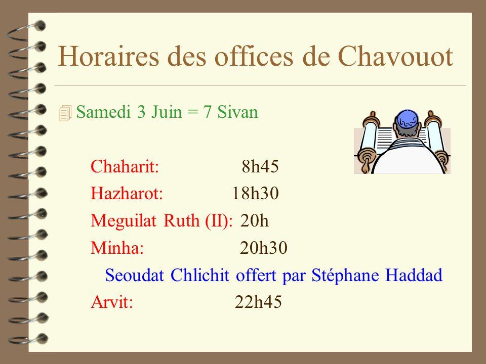 Horaires des offices de Chavouot 4 Samedi 3 Juin = 7 Sivan Chaharit: 8h45 Hazharot: 18h30 Meguilat Ruth (II): 20h Minha: 20h30 Seoudat Chlichit offert par Stéphane Haddad Arvit: 22h45