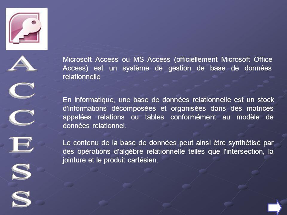 Microsoft Access ou MS Access (officiellement Microsoft Office Access) est un système de gestion de base de données relationnelle En informatique, une