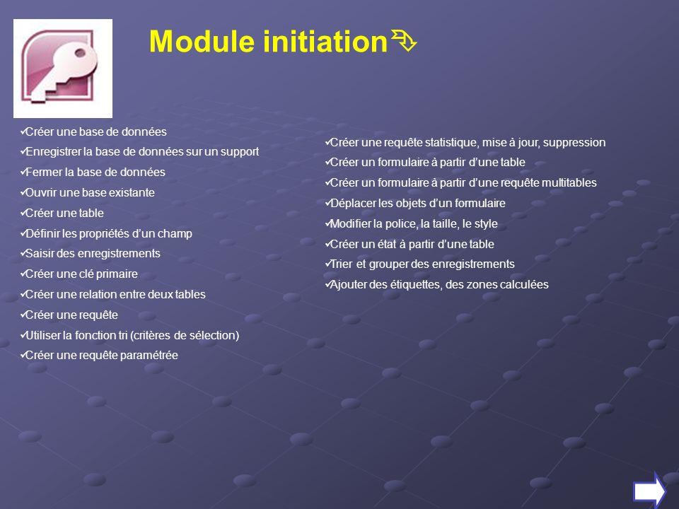 Module initiation Créer une base de données Enregistrer la base de données sur un support Fermer la base de données Ouvrir une base existante Créer un